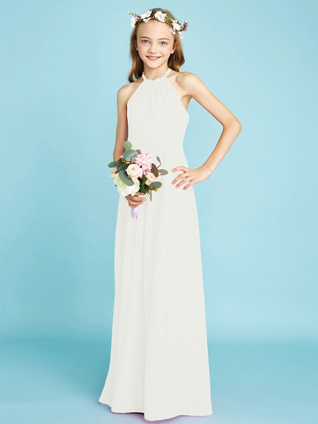 A-Line Halter Neck Floor Length Chiffon Junior Bridesmaid Dress With Sash / Ribbon / Natural_21