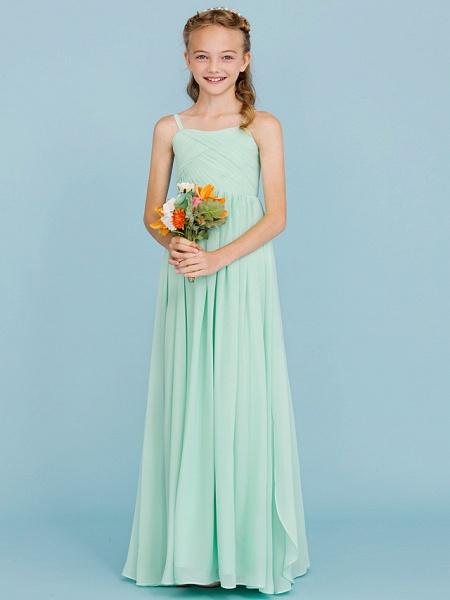 Princess / A-Line Spaghetti Strap Floor Length Chiffon Junior Bridesmaid Dress With Criss Cross / Pleats / Wedding Party / Open Back_3