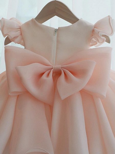 A-Line Short / Mini Party / Birthday Flower Girl Dresses - Poly Sleeveless Jewel Neck With Lace / Bow(S) / Tier_4