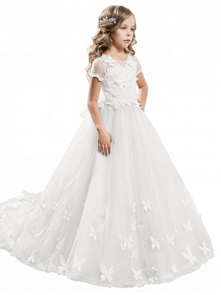 Ball Gown Sweep / Brush Train Wedding / Birthday / Pageant Flower Girl Dresses - Tulle / Cotton Short Sleeve Jewel Neck With Lace / Embroidery / Appliques_9