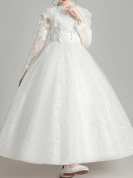 Ball Gown Ankle Length First Communion Flower Girl Dresses - Polyester Long Sleeve High Neck With Appliques_2