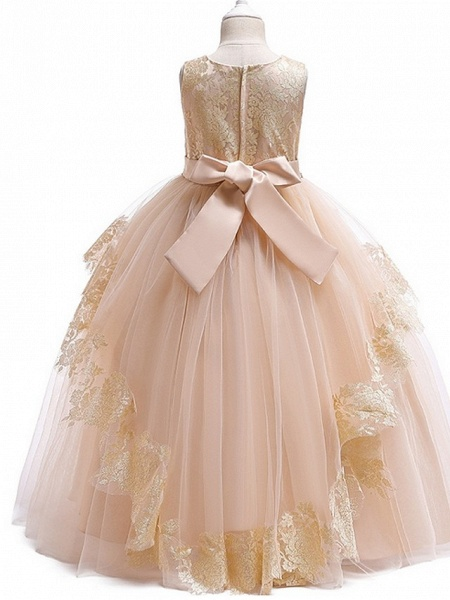 Ball Gown Floor Length Pageant Flower Girl Dresses - Tulle Sleeveless Jewel Neck With Lace / Bow(S)_6