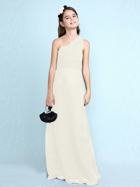 Sheath / Column One Shoulder Floor Length Chiffon Junior Bridesmaid Dress With Side Draping / Natural_23