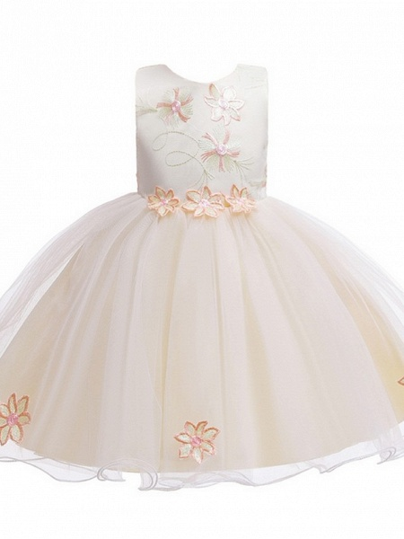 Princess / Ball Gown Floor Length Wedding / Party Flower Girl Dresses - Satin / Tulle Sleeveless Jewel Neck With Bow(S) / Appliques_5