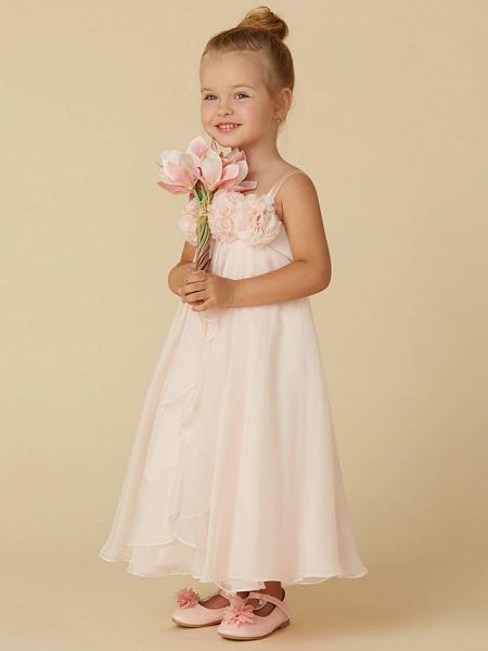 Sheath / Column Tea Length Pageant Flower Girl Dresses - Chiffon Sleeveless Straps With Flower_3