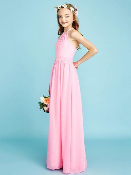 A-Line Halter Neck Floor Length Chiffon Junior Bridesmaid Dress With Sash / Ribbon / Natural_5