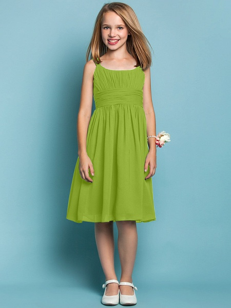 Sheath / Column Straps Knee Length Chiffon Junior Bridesmaid Dress With Ruched / Draping / Spring / Summer / Fall / Apple / Hourglass_27