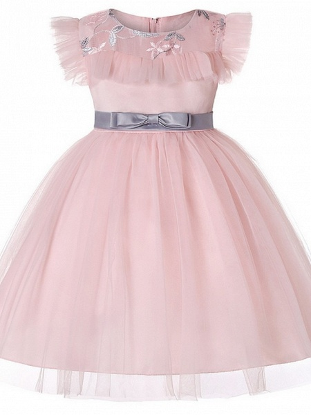 Princess / Ball Gown Floor Length Wedding / Party Flower Girl Dresses - Tulle Short Sleeve Jewel Neck With Sash / Ribbon / Bow(S) / Embroidery_1