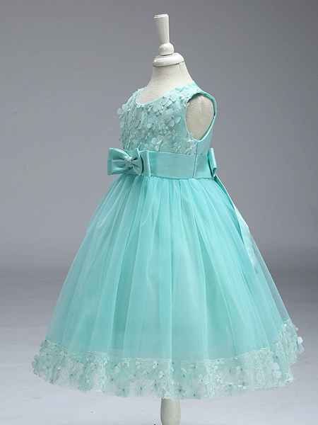 Ball Gown Knee Length Wedding / Party Flower Girl Dresses - Tulle Sleeveless Jewel Neck With Bow(S)_13