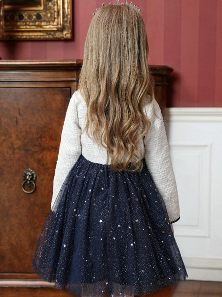 Princess / Ball Gown Knee Length Wedding / Party Flower Girl Dresses - Tulle Long Sleeve High Neck With Splicing_5