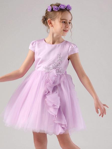 Princess / Ball Gown Medium Length Wedding / Event / Party Flower Girl Dresses - Satin / Tulle Cap Sleeve Jewel Neck With Embroidery / Appliques / Side Draping_5
