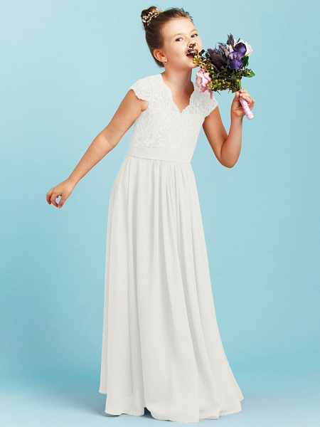 Princess / A-Line V Neck Floor Length Chiffon / Lace Junior Bridesmaid Dress With Sash / Ribbon / Pleats / Wedding Party_48