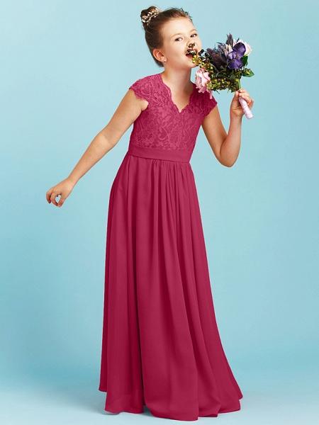 Princess / A-Line V Neck Floor Length Chiffon / Lace Junior Bridesmaid Dress With Sash / Ribbon / Pleats / Wedding Party_26