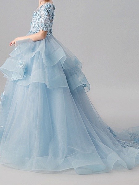 Ball Gown Sweep / Brush Train Pageant Flower Girl Dresses - Polyester Half Sleeve Jewel Neck With Appliques / Tiered_2