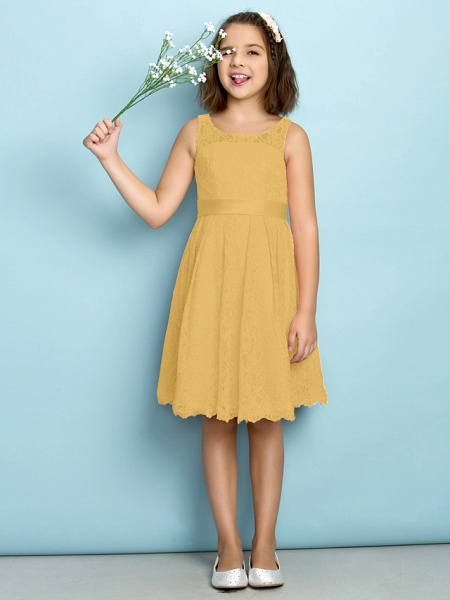 A-Line Scoop Neck Knee Length All Over Floral Lace Junior Bridesmaid Dress With Lace / Natural / Mini Me_21