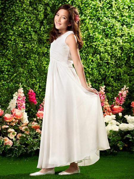 Sheath / Column V Neck Ankle Length Chiffon Junior Bridesmaid Dress With Criss Cross / Draping / Spring / Summer / Fall / Wedding Party_2