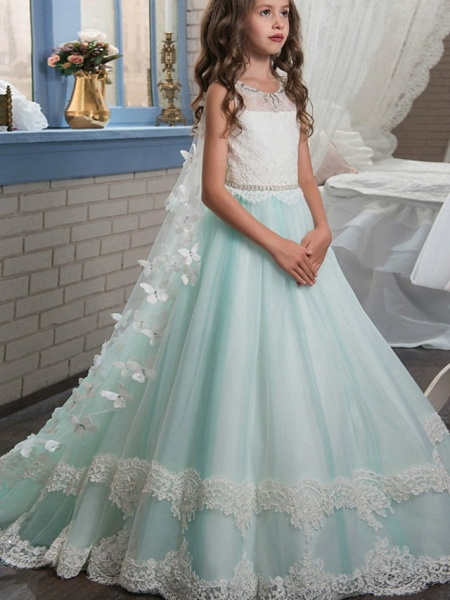 Ball Gown Floor Length Wedding / Event / Party Flower Girl Dresses - Polyester Sleeveless Jewel Neck With Appliques / Color Block_1