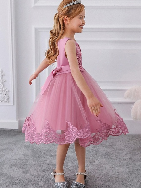 Ball Gown Knee Length Wedding / Party Flower Girl Dresses - Tulle Sleeveless Jewel Neck With Bow(S) / Appliques_4