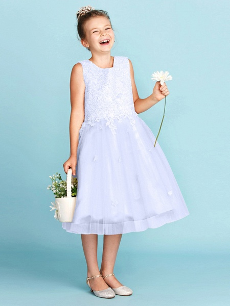 Princess / A-Line Jewel Neck Knee Length Lace / Tulle Junior Bridesmaid Dress With Bow(S) / Appliques / Wedding Party_48