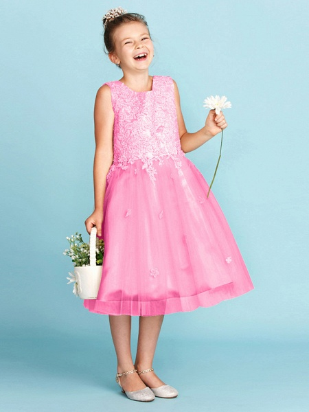 Princess / A-Line Jewel Neck Knee Length Lace / Tulle Junior Bridesmaid Dress With Bow(S) / Appliques / Wedding Party_26
