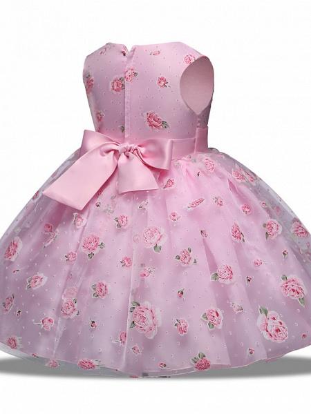 Princess Midi Wedding / Party Satin / Tulle Sleeveless Jewel Neck With Bow(S) / Tier / Pattern / Print_3