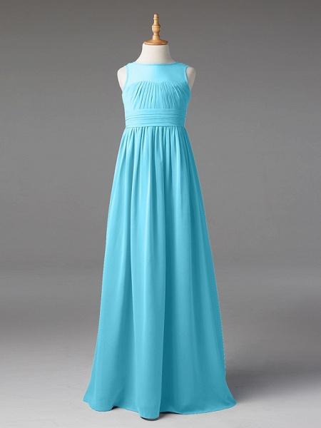 Princess / A-Line Jewel Neck Floor Length Chiffon Junior Bridesmaid Dress With Sash / Ribbon / Pleats_50