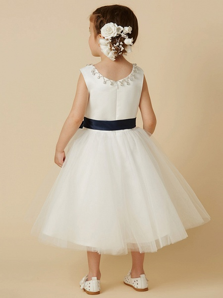 Princess Tea Length Wedding / First Communion Flower Girl Dresses - Satin / Tulle Sleeveless Jewel Neck With Sash / Ribbon / Beading_2