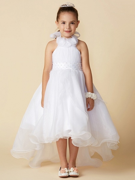 A-Line Asymmetrical Wedding / First Communion Flower Girl Dresses - Organza Sleeveless Halter Neck With Bow(S) / Pleats_1