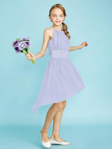 Sheath / Column Jewel Neck Asymmetrical Chiffon Junior Bridesmaid Dress With Sequin / Natural_49