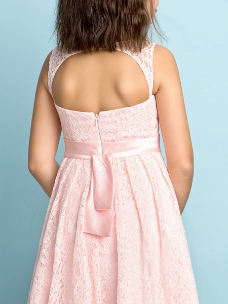 A-Line Scoop Neck Knee Length All Over Floral Lace Junior Bridesmaid Dress With Lace / Natural / Mini Me_7