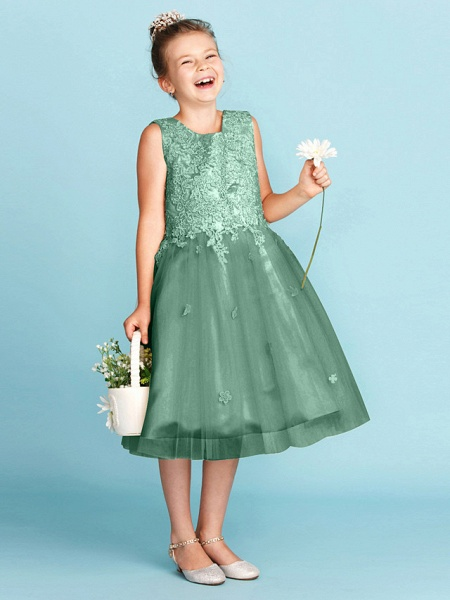Princess / A-Line Jewel Neck Knee Length Lace / Tulle Junior Bridesmaid Dress With Bow(S) / Appliques / Wedding Party_45