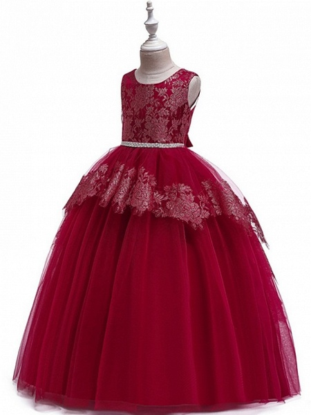 Ball Gown Floor Length Pageant Flower Girl Dresses - Tulle Sleeveless Jewel Neck With Lace / Bow(S)_3