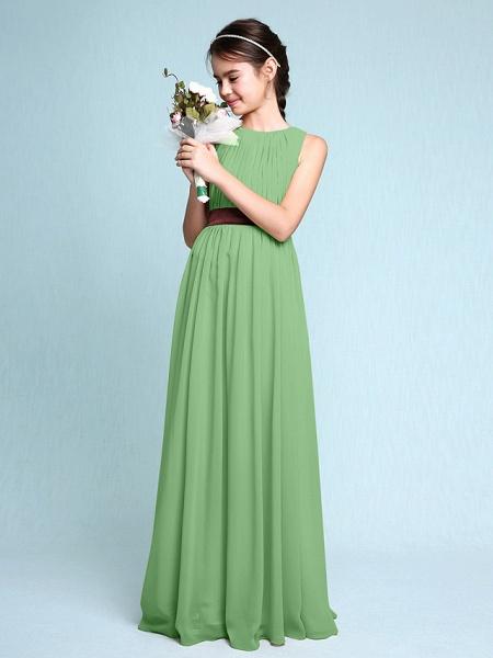 Sheath / Column Scoop Neck Floor Length Chiffon Junior Bridesmaid Dress With Draping / Natural_30