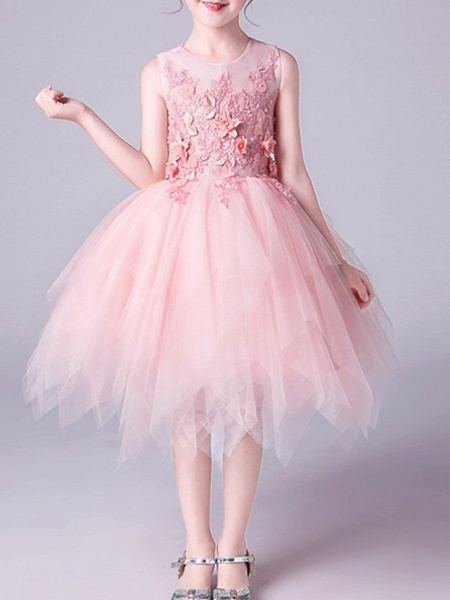 A-Line Knee Length Pageant Flower Girl Dresses - Tulle Sleeveless Jewel Neck With Beading / Appliques_2
