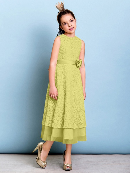 A-Line Jewel Neck Tea Length All Over Floral Lace Junior Bridesmaid Dress With Sash / Ribbon / Bow(S) / Flower / Natural_18