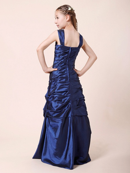 Princess / A-Line Straps Floor Length Taffeta Junior Bridesmaid Dress With Ruched / Side Draping / Spring / Fall / Winter / Wedding Party / Natural_5