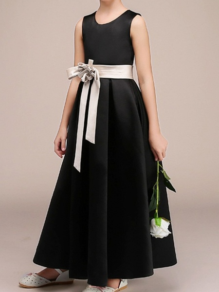 A-Line Ankle Length Pageant Flower Girl Dresses - Polyester Sleeveless Jewel Neck With Bow(S)_1
