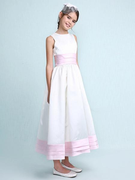 Princess / A-Line Jewel Neck Knee Length Satin Junior Bridesmaid Dress With Sash / Ribbon / Ruched / Ruffles / Spring / Summer / Fall / Winter / Wedding Party_6