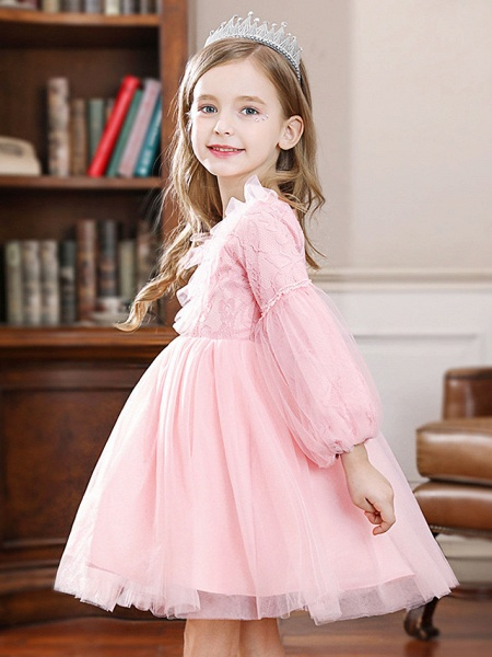 Princess / Ball Gown Knee Length Wedding / Party Flower Girl Dresses - Tulle Long Sleeve Jewel Neck With Pleats / Splicing_2