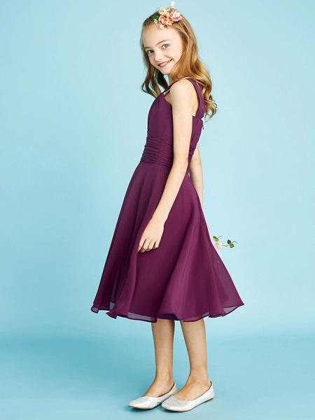 A-Line Straps Knee Length Chiffon Junior Bridesmaid Dress With Sash / Ribbon / Ruched / Draping / Natural_6