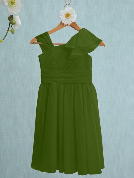 Sheath / Column Straps Knee Length Chiffon Junior Bridesmaid Dress With Ruffles / Side Draping / Natural_39