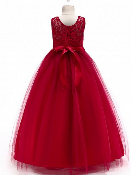 A-Line Round Floor Length Cotton Junior Bridesmaid Dress With Lace / Bow(S)_10