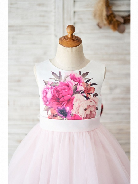 Ball Gown Knee Length Wedding / Birthday Flower Girl Dresses - Tulle Sleeveless Jewel Neck With Bow(S)_3