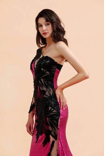 Mermaid Sequins One Sleeve Side Split Prom Dress_5
