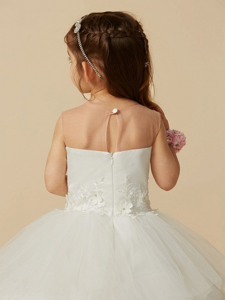 Ball Gown Floor Length Wedding / First Communion Flower Girl Dresses - Satin / Tulle Sleeveless Illusion Neck With Buttons / Flower_7