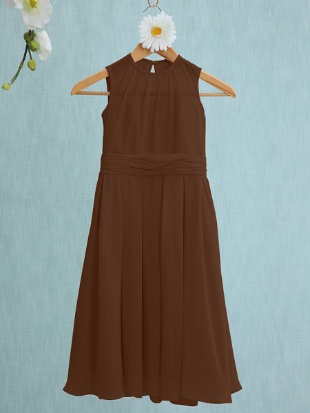 Sheath / Column Jewel Neck Knee Length Chiffon Junior Bridesmaid Dress With Ruched / Natural_21