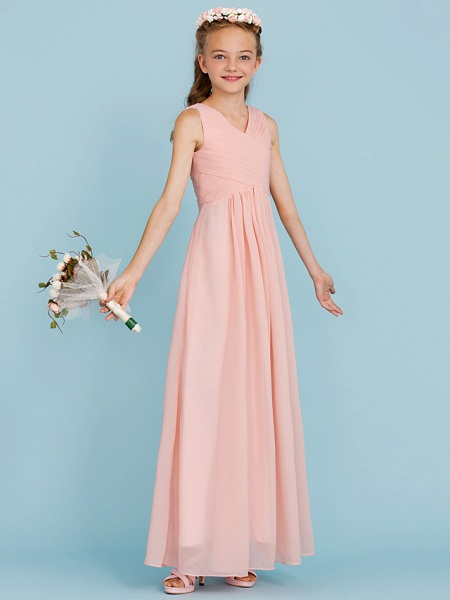 Sheath / Column V Neck Floor Length Chiffon Junior Bridesmaid Dress With Criss Cross / Pleats / Wedding Party / Open Back