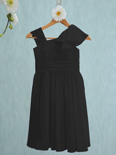 Sheath / Column Straps Knee Length Chiffon Junior Bridesmaid Dress With Ruffles / Side Draping / Natural_38