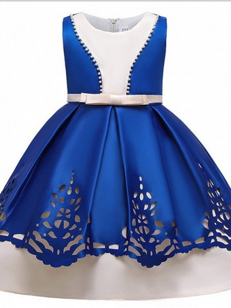 Ball Gown Ankle Length Pageant Flower Girl Dresses - Polyester Sleeveless Jewel Neck With Beading_5
