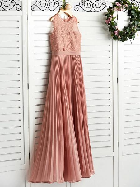 A-Line Crew Neck Maxi Chiffon / Lace Junior Bridesmaid Dress With Lace / Pleats_3